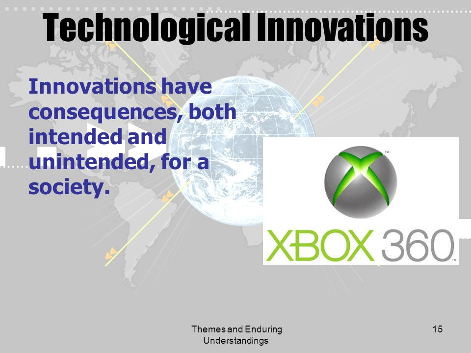 Themes and Enduring Understandings 15 Technological Innovations Innovations have consequences, both intended and unintended, for a society.