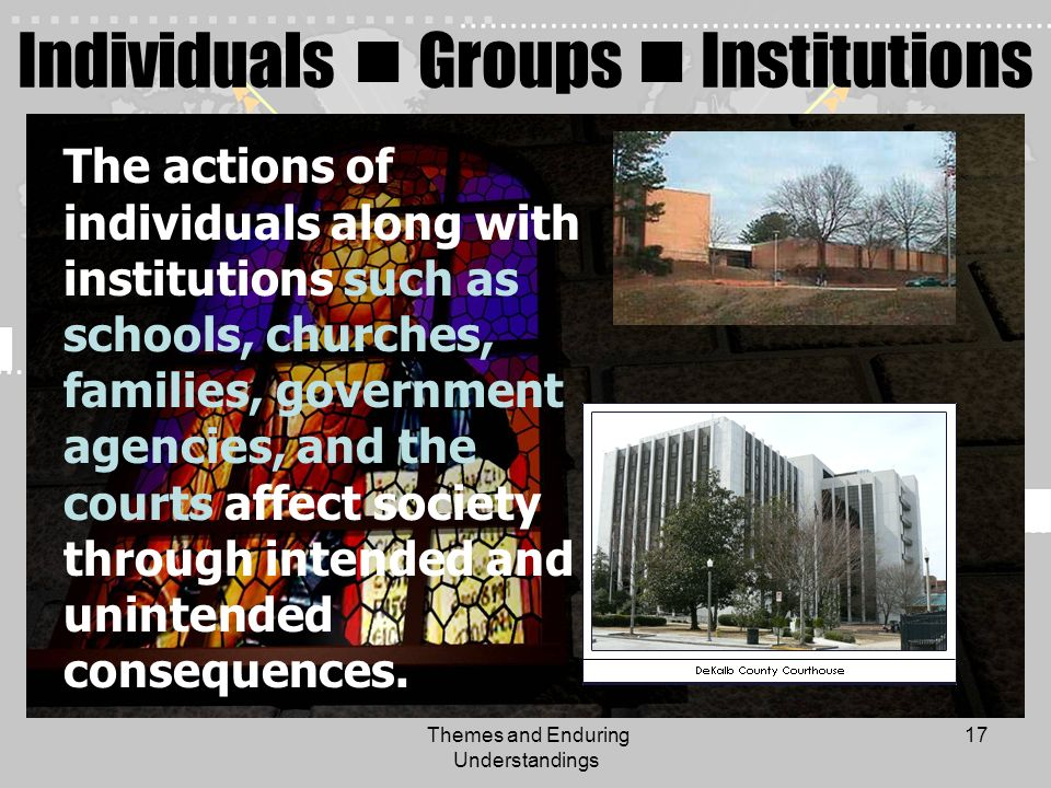 Themes and Enduring Understandings 17 Individuals Groups Institutions The actions of individuals along with institutions such as schools, churches, fa
