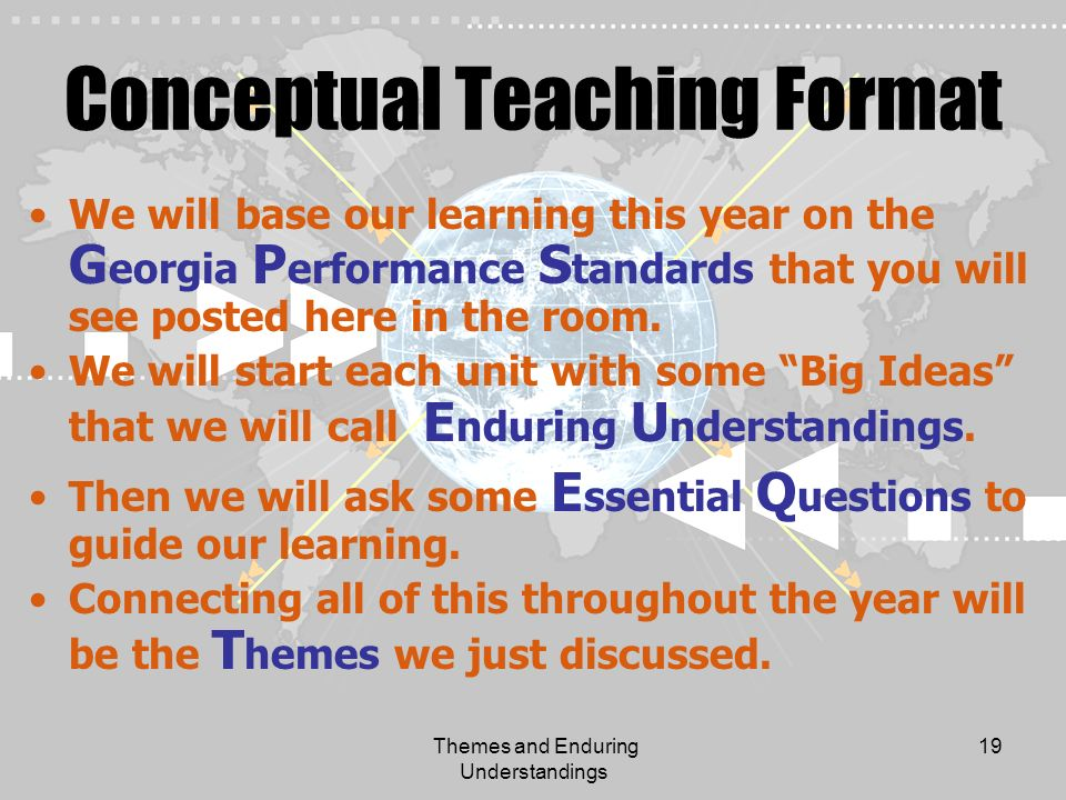 Themes and Enduring Understandings 19 Conceptual Teaching Format We will base our learning this year on the G eorgia P erformance S tandards that you