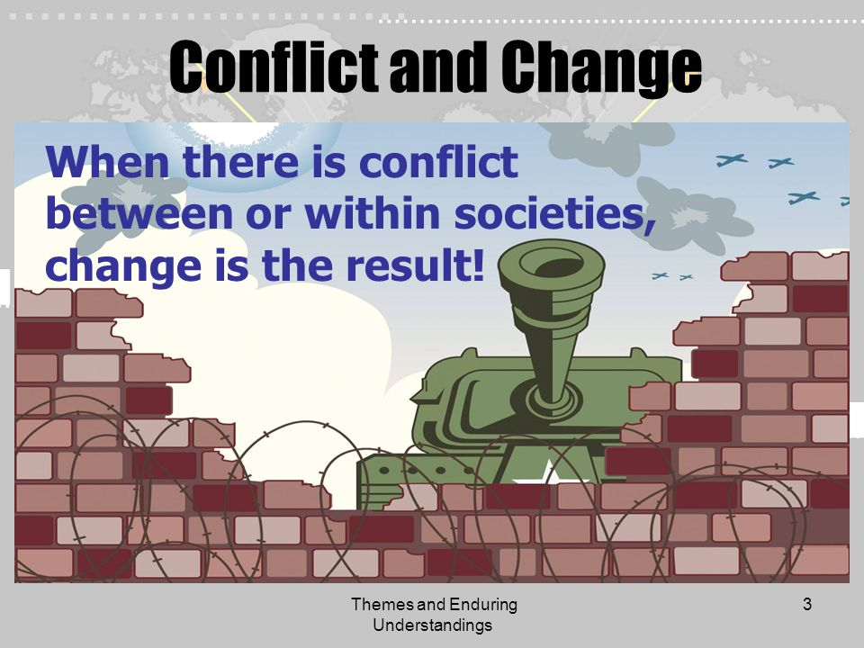 Themes and Enduring Understandings 3 Conflict and Change When there is conflict between or within societies, change is the result!