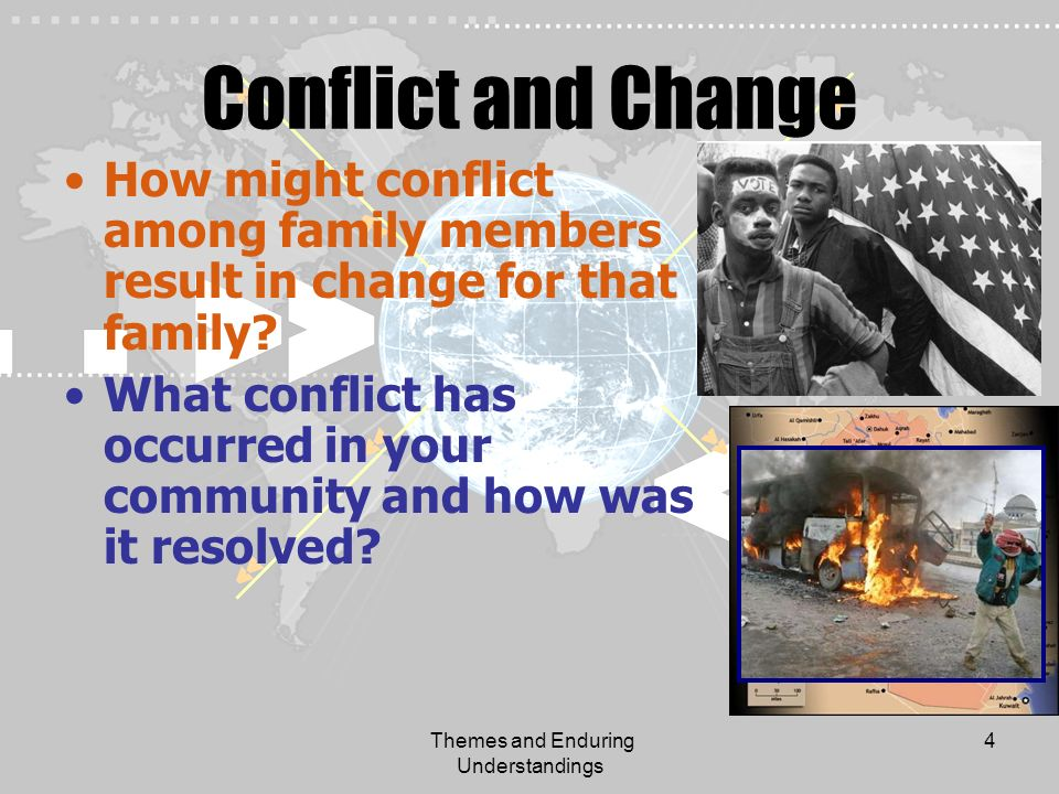 Themes and Enduring Understandings 4 Conflict and Change How might conflict among family members result in change for that family? What conflict has o