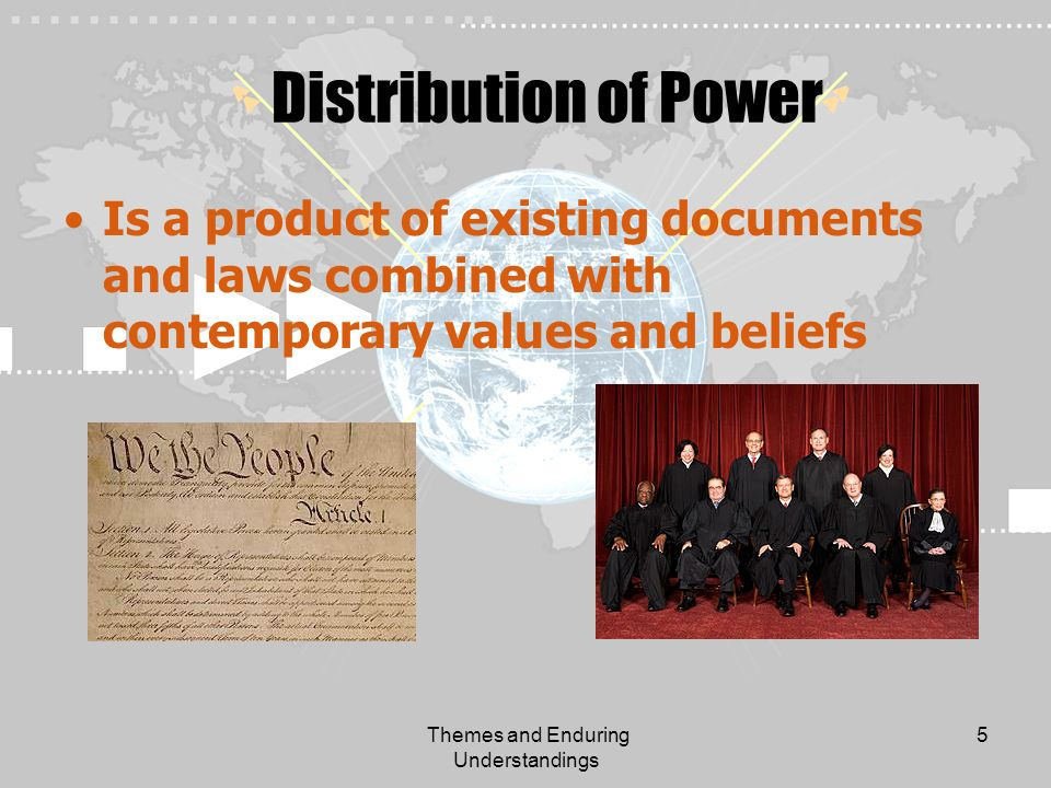 Themes and Enduring Understandings 5 Distribution of Power Is a product of existing documents and laws combined with contemporary values and beliefs
