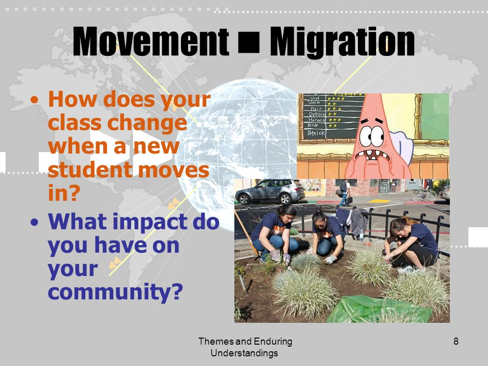 Themes and Enduring Understandings 8 Movement Migration How does your class change when a new student moves in? What impact do you have on your commun