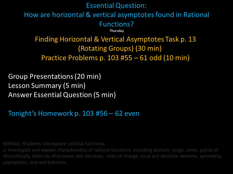 Essential Question: How are horizontal & vertical asymptotes found in Rational Functions? Thursday Warm-up Complete Posters for Group work Presentatio