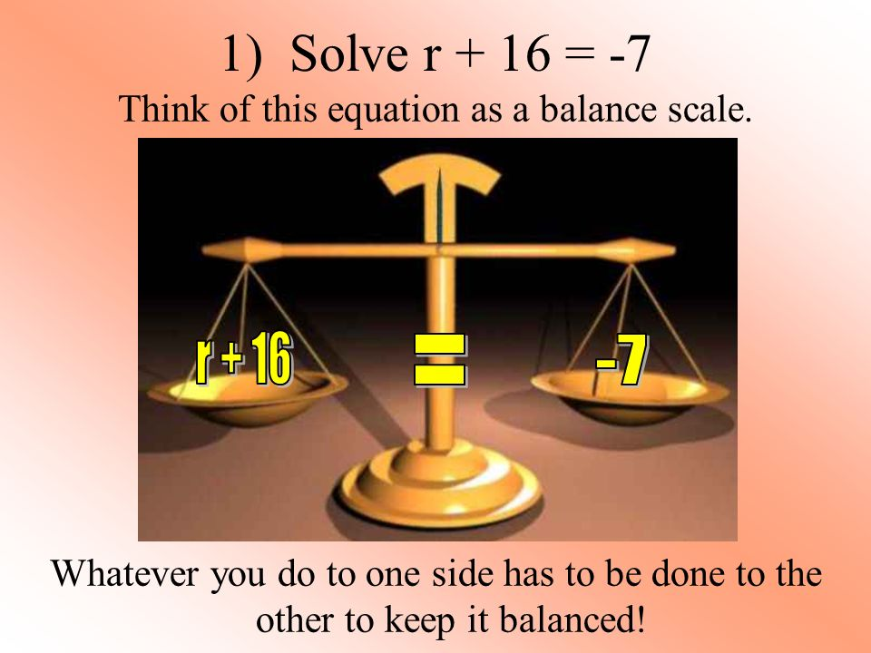1) Solve r + 16 = -7 Think of this equation as a balance scale.