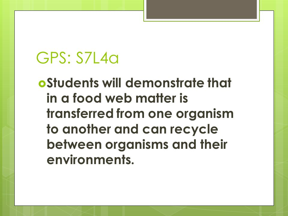 GPS: S7L4a Students will demonstrate that in a food web matter is transferred from one organism to another and can recycle between organisms and their