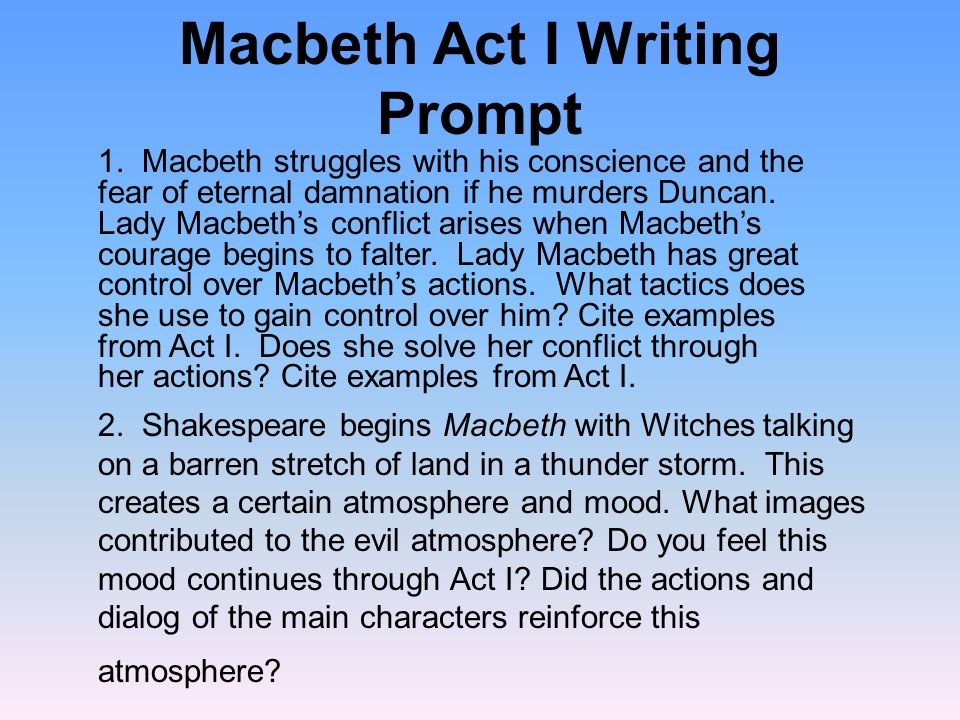 The Witches are characters that have a powerful impact on the play, but have very few lines.