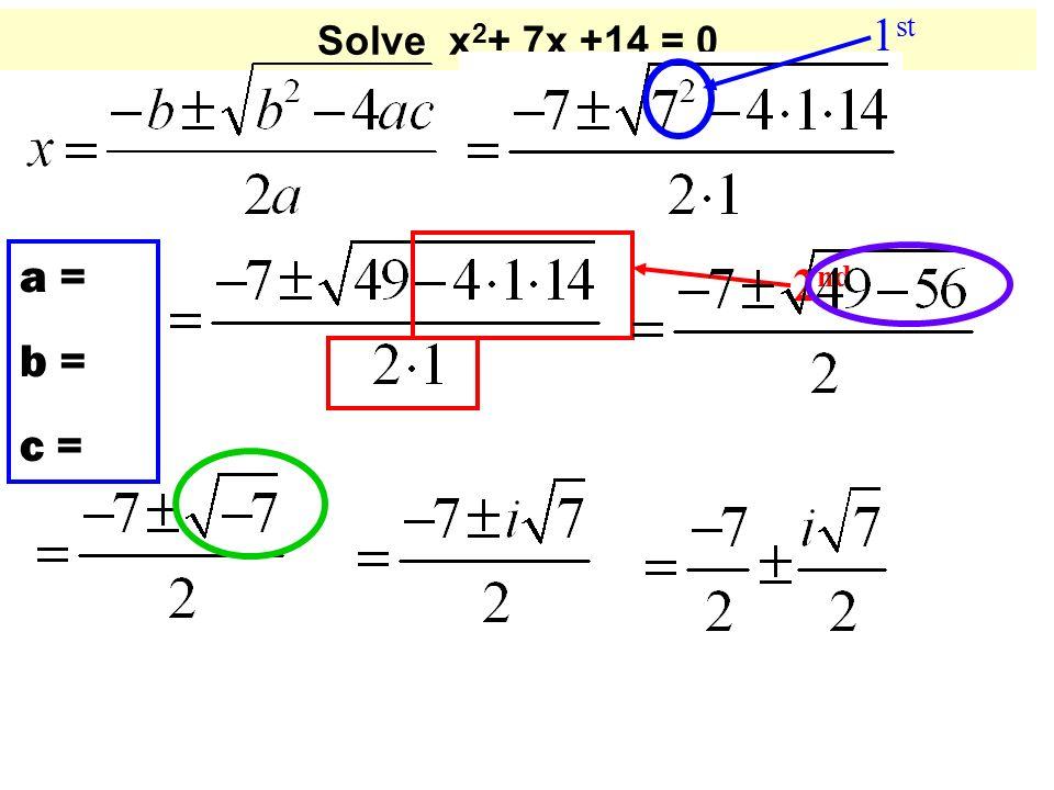 Solve x 2 + 7x +14 = 0 a = b = c = 1 st 2 nd