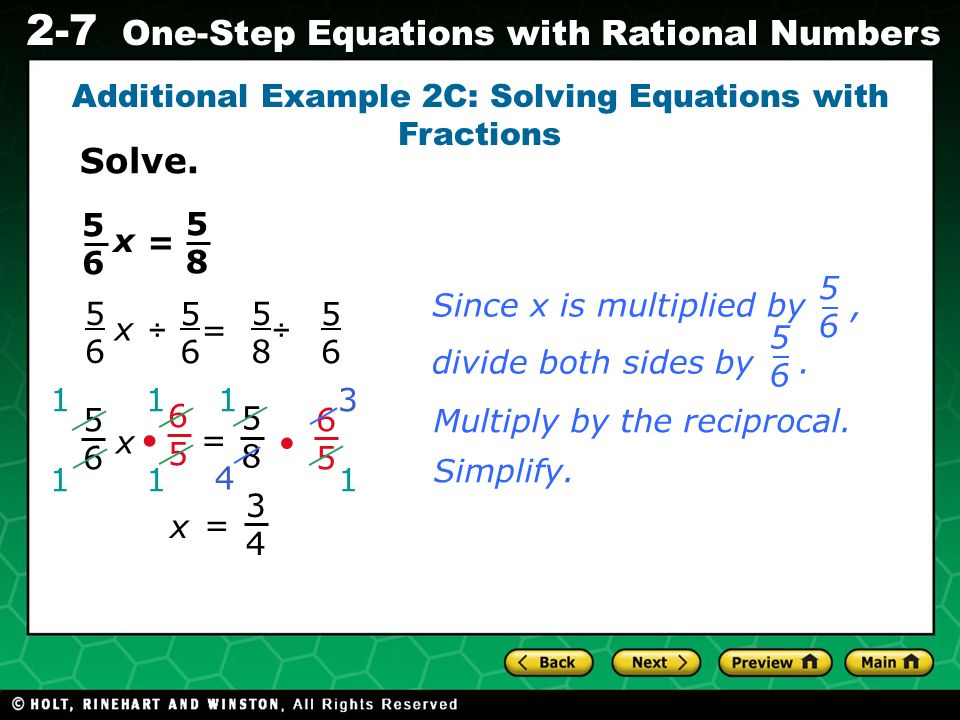 Evaluating Algebraic Expressions 2-7 One-Step Equations with Rational Numbers 1919 = – 5959 n + Check It Out.