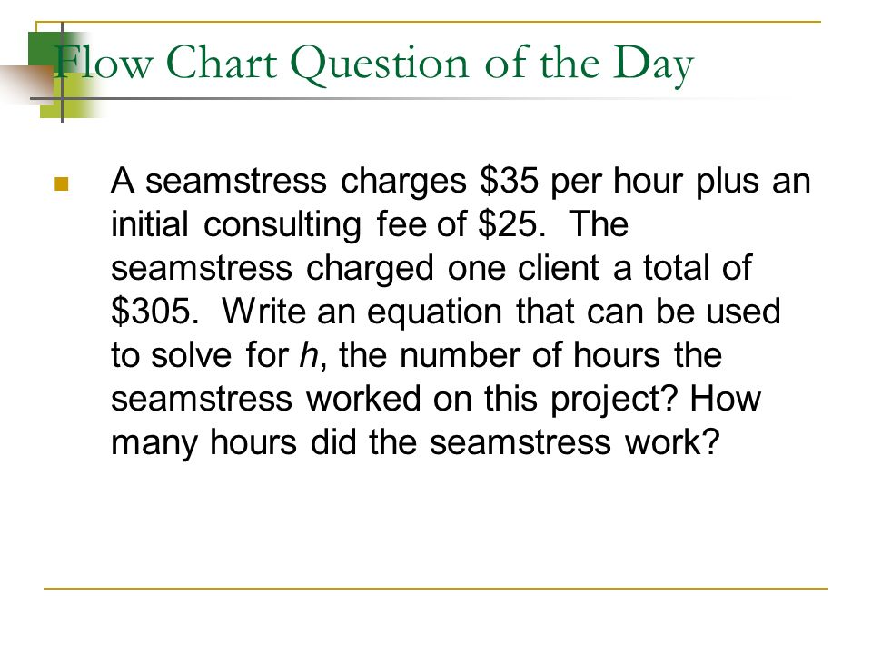 Flow Chart Question of the Day A seamstress charges $35 per hour plus an initial consulting fee of $25.