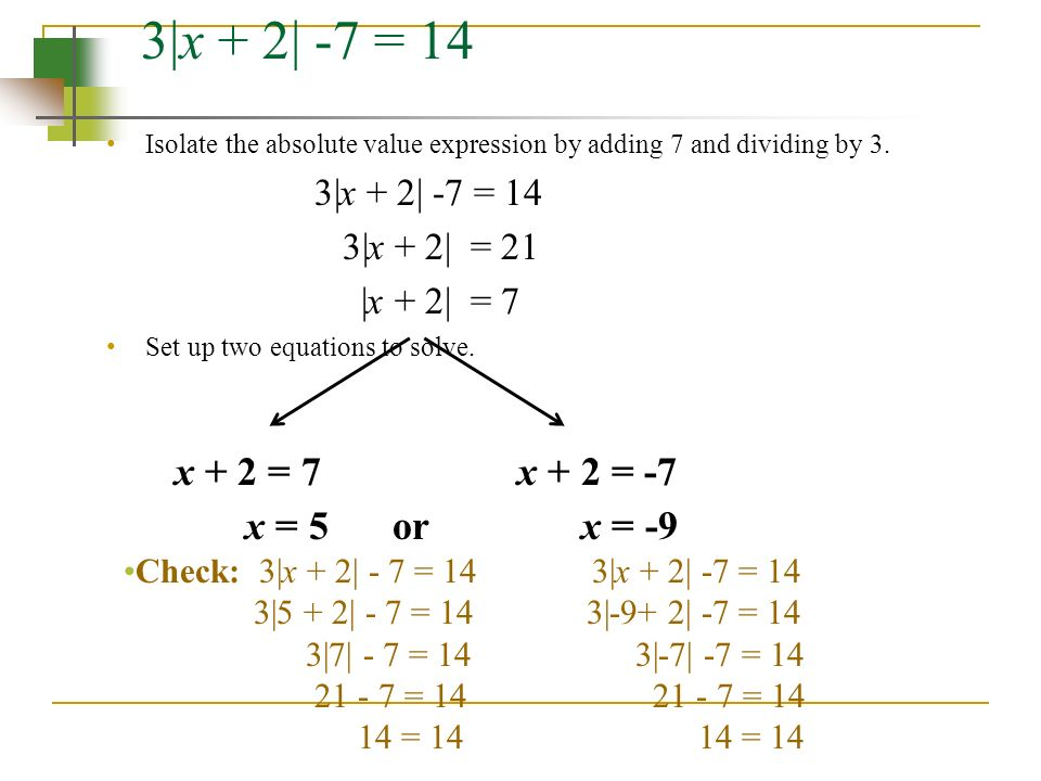 3|x + 2| -7 = 14 Isolate the absolute value expression by adding 7 and dividing by 3.