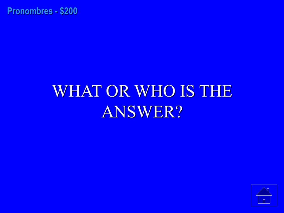 Pronombres - $100 WHAT OR WHO IS THE ANSWER