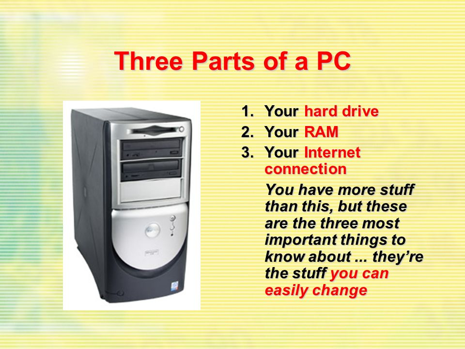 Three Parts of a PC 1.Your hard drive 2.Your RAM 3.Your Internet connection You have more stuff than this, but these are the three most important thin