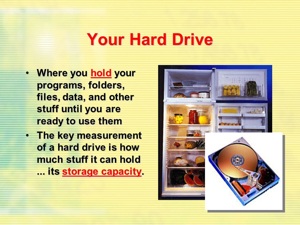 Your Hard Drive Where you hold your programs, folders, files, data, and other stuff until you are ready to use themWhere you hold your programs, folde