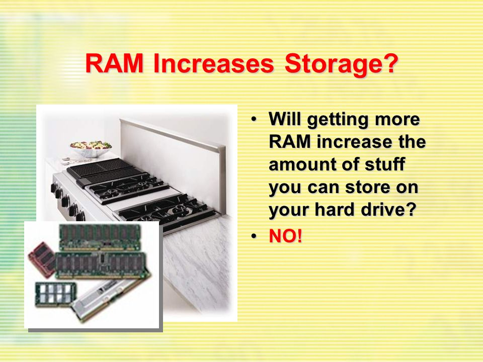 RAM Increases Storage.