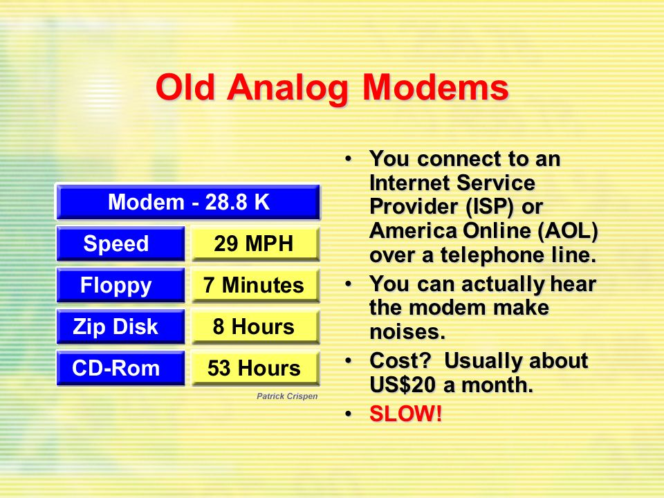 Old Analog Modems You connect to an Internet Service Provider (ISP) or America Online (AOL) over a telephone line.You connect to an Internet Service Provider (ISP) or America Online (AOL) over a telephone line.