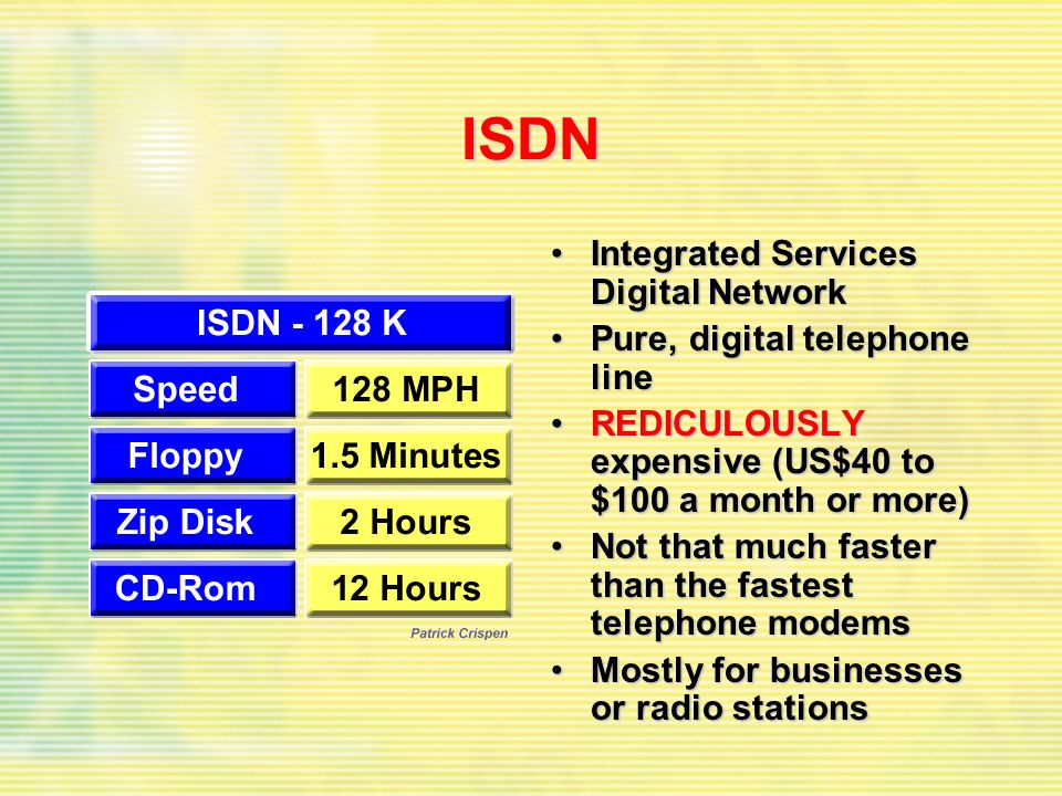ISDN Integrated Services Digital NetworkIntegrated Services Digital Network Pure, digital telephone linePure, digital telephone line REDICULOUSLY expensive (US$40 to $100 a month or more)REDICULOUSLY expensive (US$40 to $100 a month or more) Not that much faster than the fastest telephone modemsNot that much faster than the fastest telephone modems Mostly for businesses or radio stationsMostly for businesses or radio stations