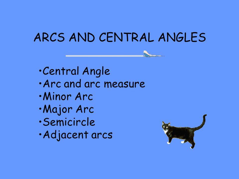 Central Angles Circle B, Angle ABC A C B VERTEX OF THE CENTRAL ANGLE IS THE CENTER OF THE CIRCLE