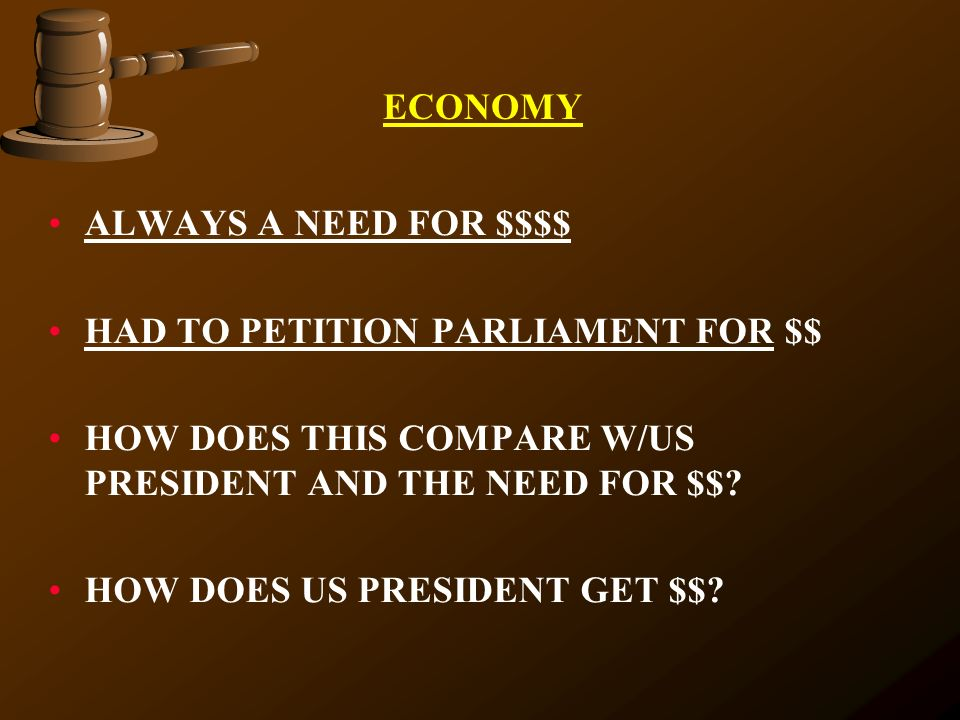 ECONOMY ALWAYS A NEED FOR $$$$ HAD TO PETITION PARLIAMENT FOR $$ HOW DOES THIS COMPARE W/US PRESIDENT AND THE NEED FOR $$? HOW DOES US PRESIDENT GET $