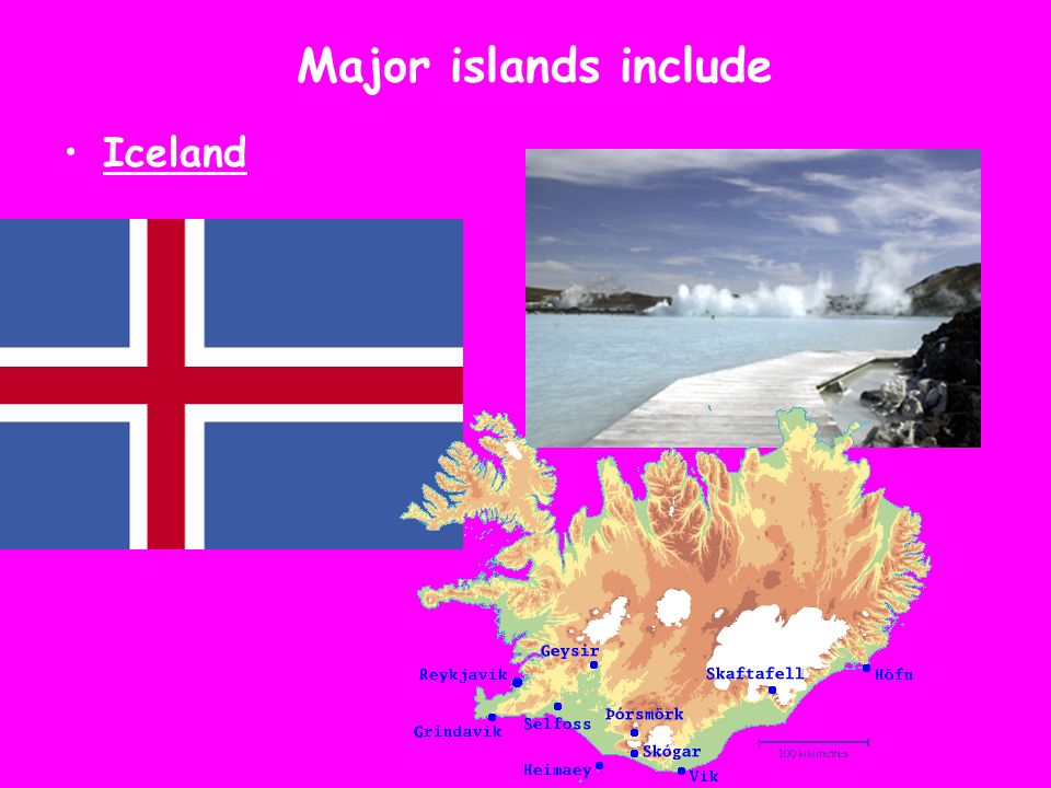 Major islands include Iceland