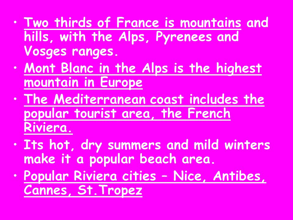 Two thirds of France is mountains and hills, with the Alps, Pyrenees and Vosges ranges. Mont Blanc in the Alps is the highest mountain in Europe The M