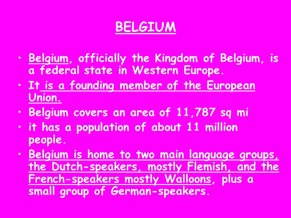 BELGIUM Belgium, officially the Kingdom of Belgium, is a federal state in Western Europe. It is a founding member of the European Union. Belgium cover