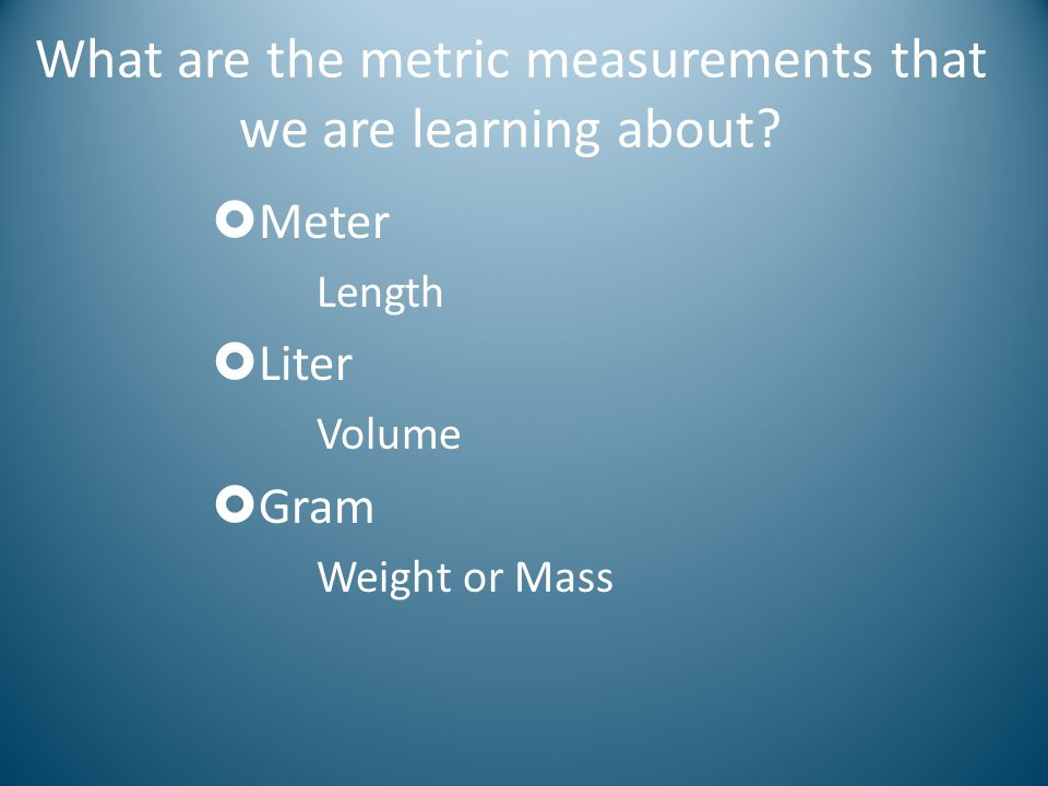 Metric System Now lets try our previous example from meters to kilometers: 16093 meters = 16.093 kilometers So for every step from the base unit to kilo, we moved the decimal 1 place to the left (the same direction as in the diagram below) kilo hectodeca meter liter gram deci centimilli