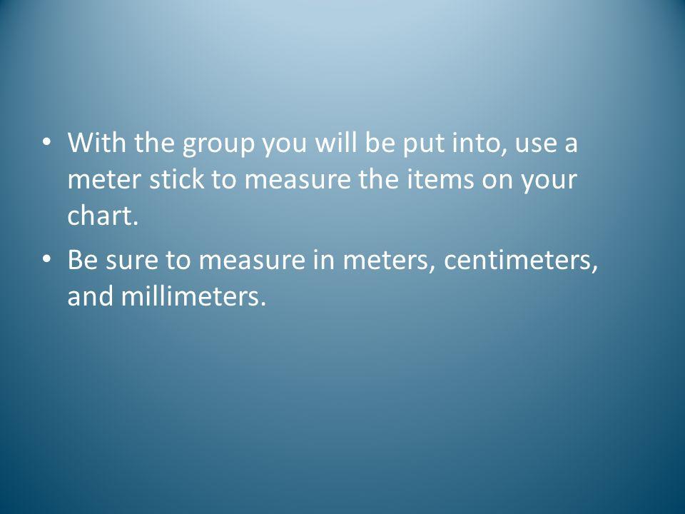 Metric System Now lets start from kilometers and convert to millimeters 4 kilometers = 4000000 millimeters or 4 kilometers = 40 hectometers = 400 decameters = 4000 meters = 40000 decimeters = 400000 centimeters = 4000000 millimeters kilo hectodeca meter liter gram deci centimilli