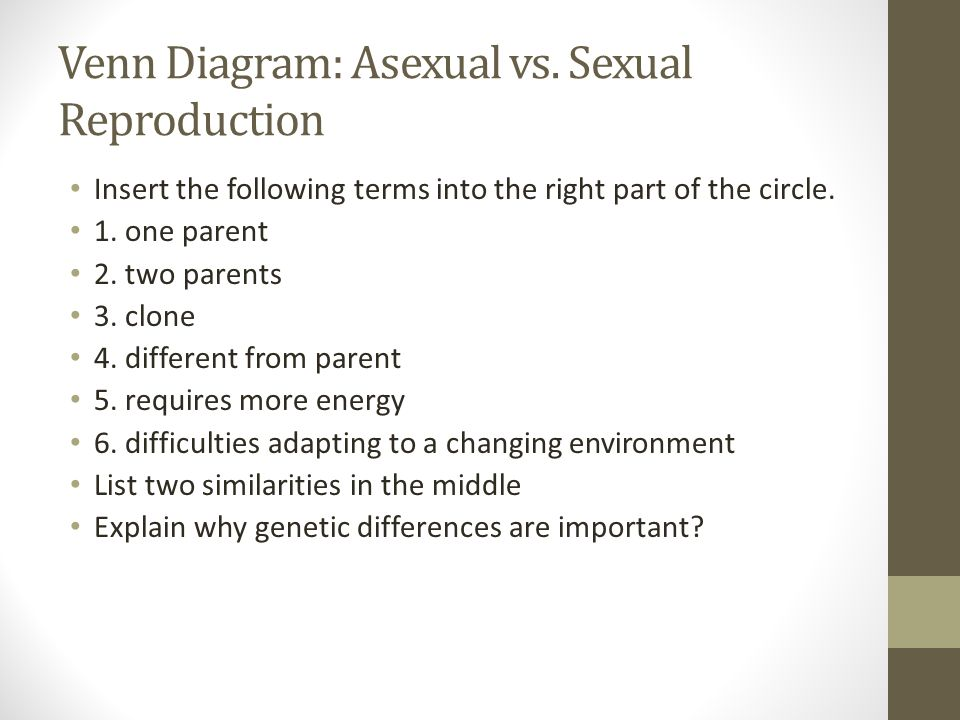 Venn Diagram: Asexual vs. Sexual Reproduction Insert the following terms into the right part of the circle. 1. one parent 2. two parents 3. clone 4. d