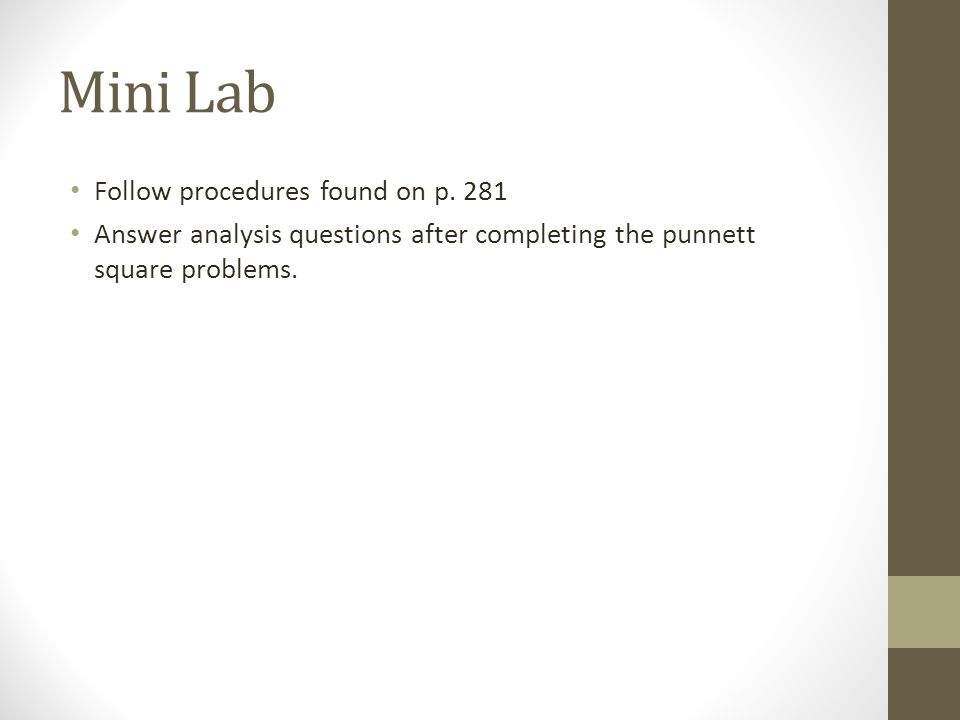 Mini Lab Follow procedures found on p. 281 Answer analysis questions after completing the punnett square problems.