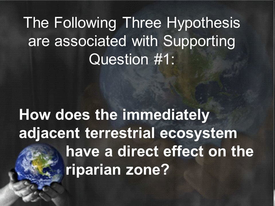 How does the immediately adjacent terrestrial ecosystem have a direct effect on the riparian zone? The Following Three Hypothesis are associated with