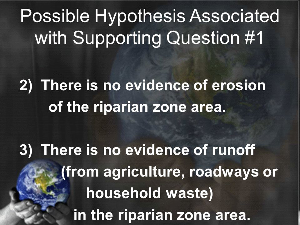 2) There is no evidence of erosion of the riparian zone area. 3) There is no evidence of runoff (from agriculture, roadways or household waste) in the