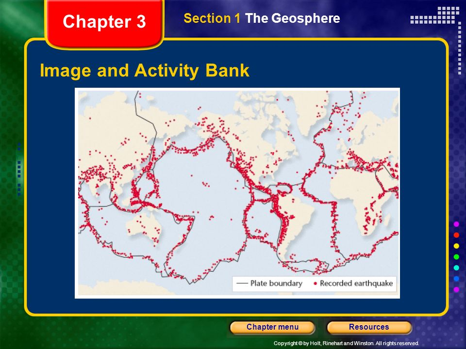 Copyright © by Holt, Rinehart and Winston. All rights reserved. ResourcesChapter menu Image and Activity Bank Chapter 3 Section 1 The Geosphere