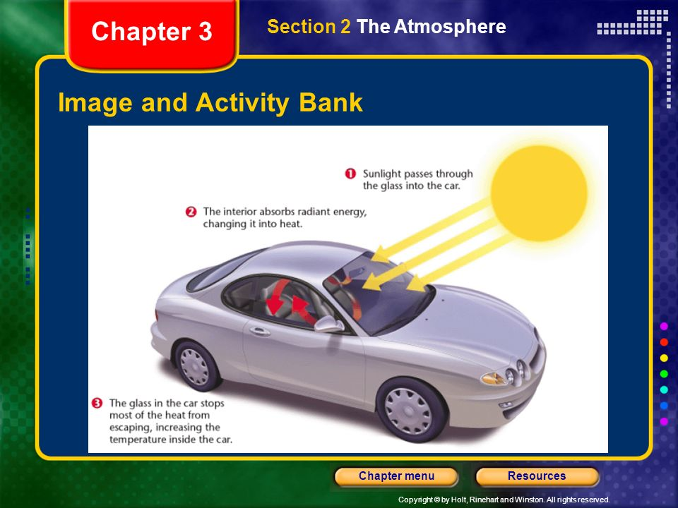 Copyright © by Holt, Rinehart and Winston. All rights reserved. ResourcesChapter menu Image and Activity Bank Chapter 3 Section 2 The Atmosphere