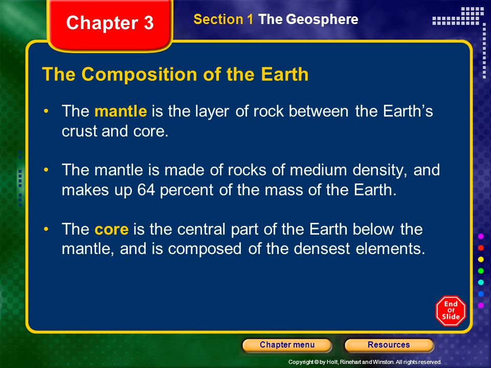 Copyright © by Holt, Rinehart and Winston. All rights reserved. ResourcesChapter menu The Composition of the Earth The crust is the thin and solid out