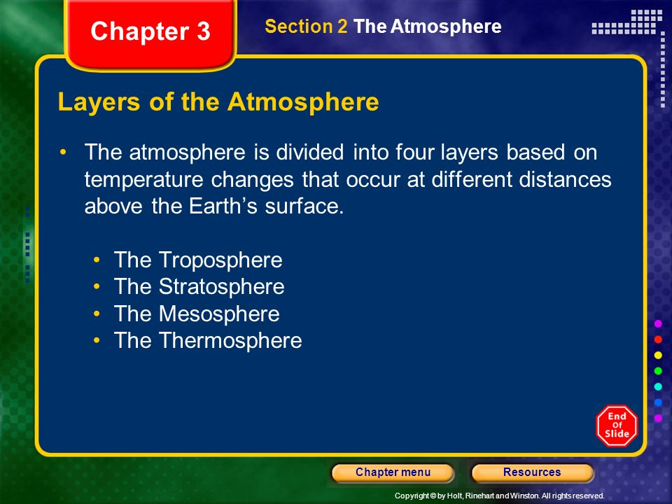 Copyright © by Holt, Rinehart and Winston. All rights reserved. ResourcesChapter menu Air Pressure Earths atmosphere is pulled toward Earths surface b