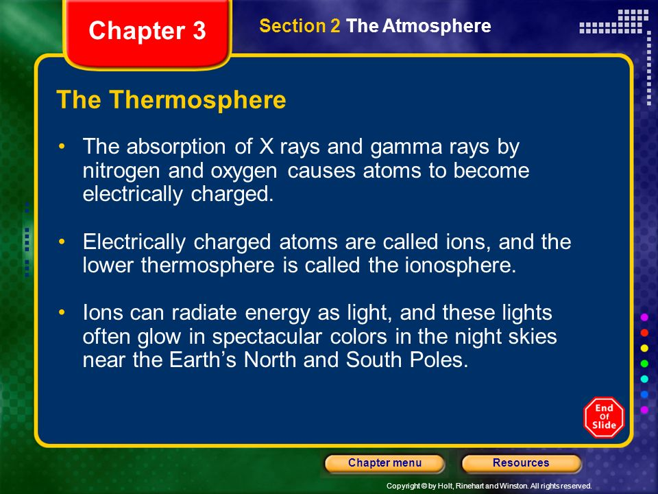 Copyright © by Holt, Rinehart and Winston. All rights reserved. ResourcesChapter menu The Thermosphere The atmospheric layer located farthest from Ear