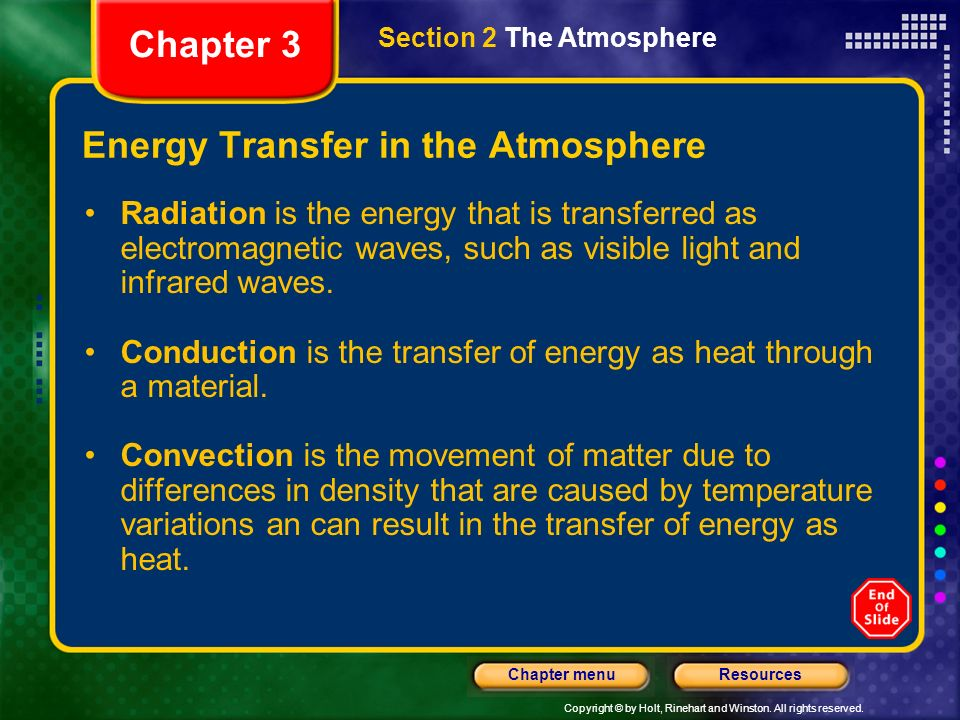 Copyright © by Holt, Rinehart and Winston. All rights reserved. ResourcesChapter menu The Thermosphere The absorption of X rays and gamma rays by nitr