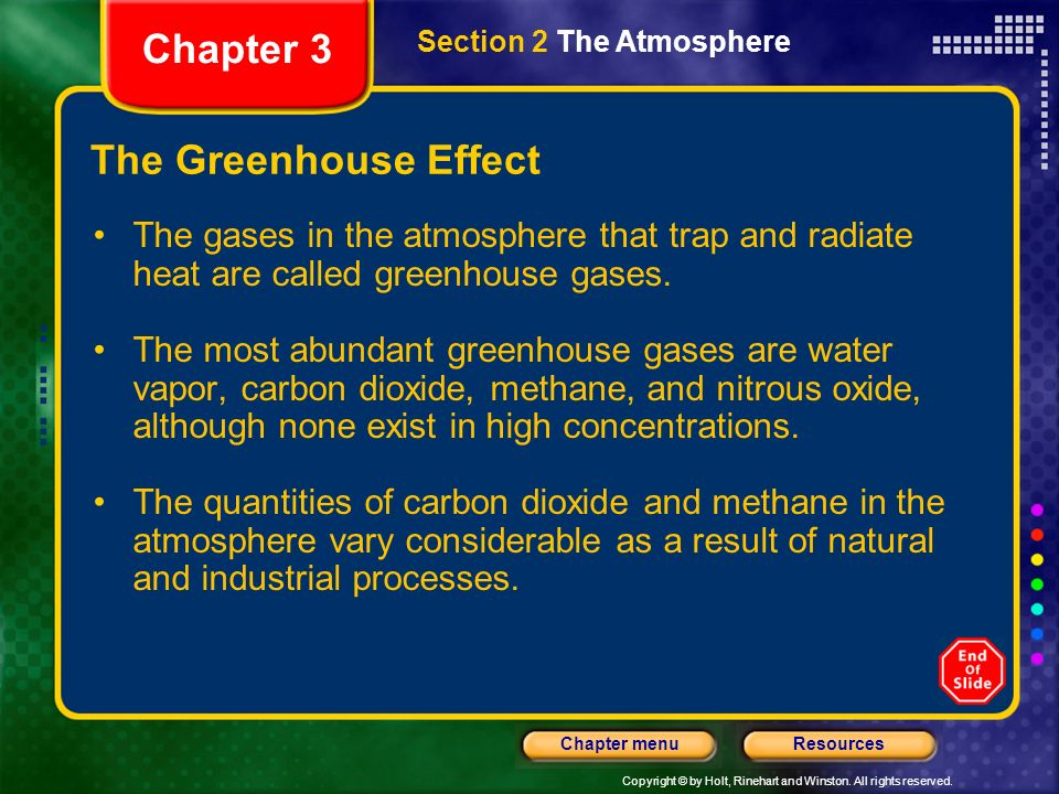 Copyright © by Holt, Rinehart and Winston. All rights reserved. ResourcesChapter menu The Greenhouse Effect Chapter 3 Section 2 The Atmosphere