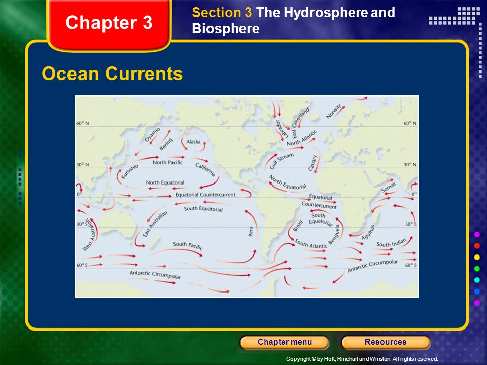 Copyright © by Holt, Rinehart and Winston. All rights reserved. ResourcesChapter menu Ocean Currents Streamlike movements of water that occur at or ne