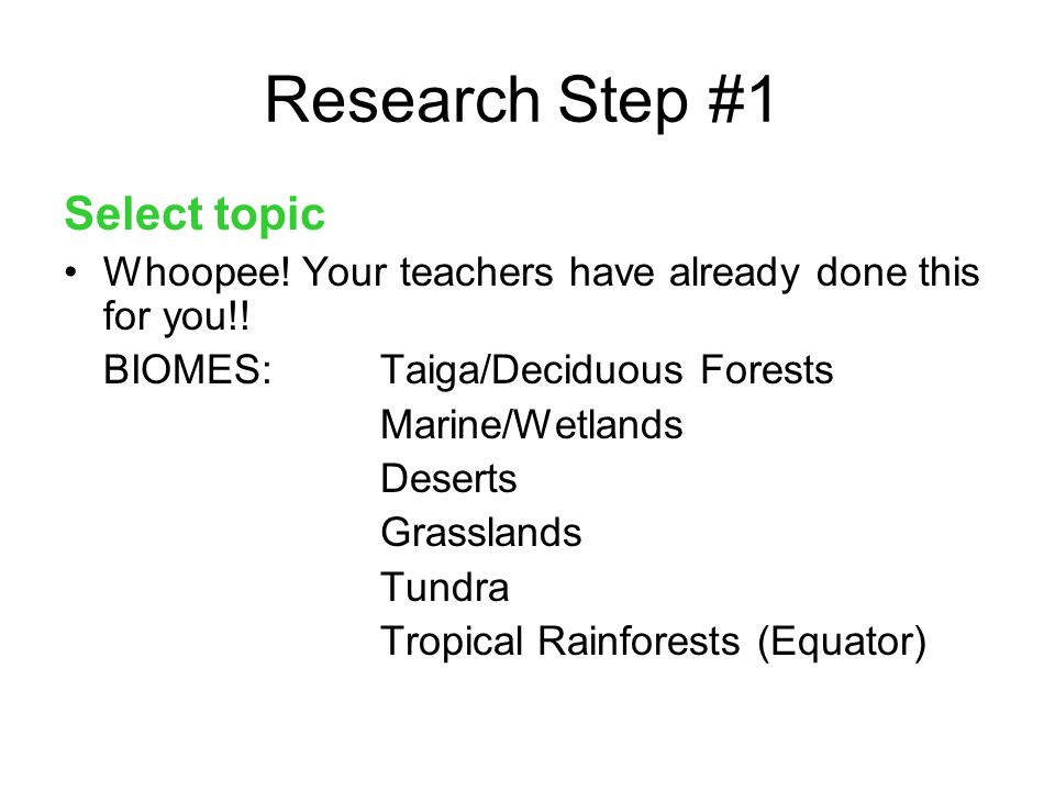 Research Step #1 Select topic Whoopee.Your teachers have already done this for you!.