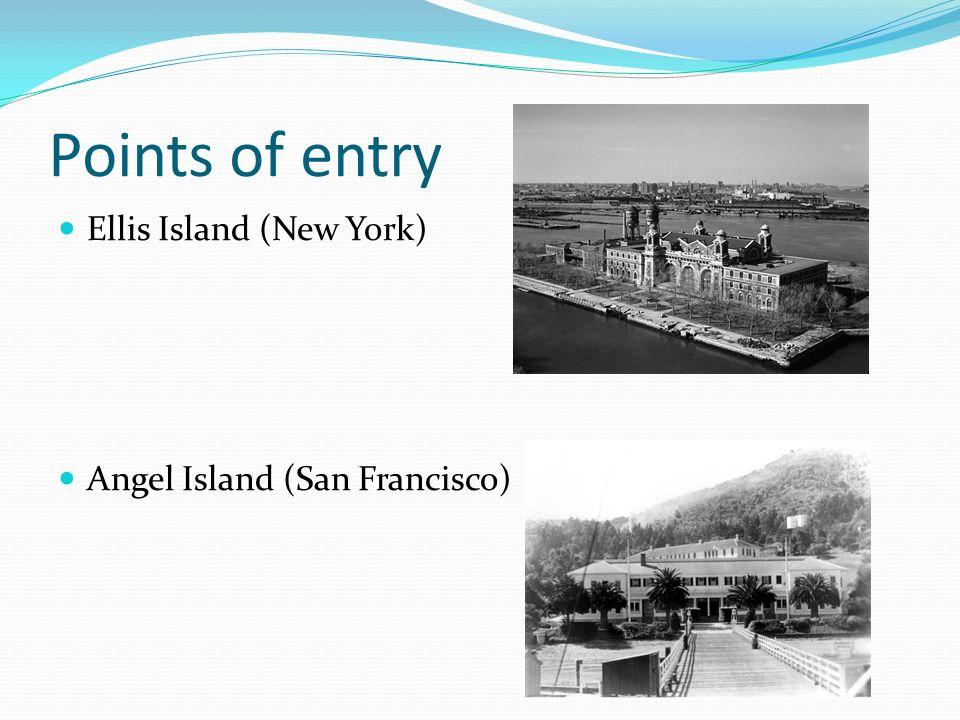 Points of entry Ellis Island (New York) Angel Island (San Francisco)