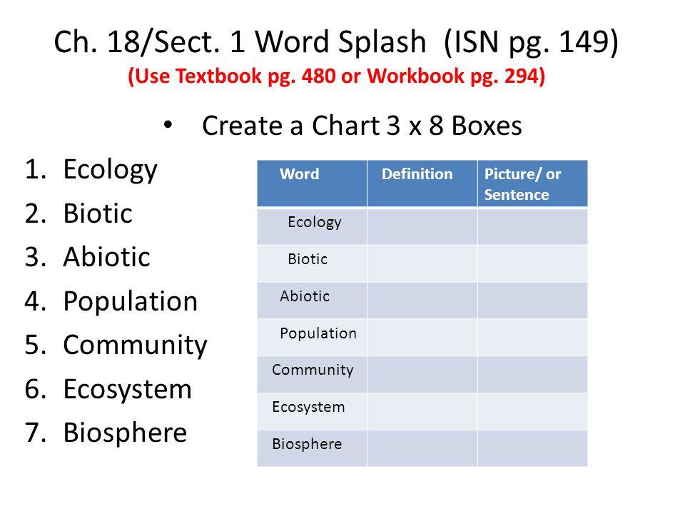 Ch. 18/Sect. 1 Word Splash (ISN pg. 149) (Use Textbook pg.