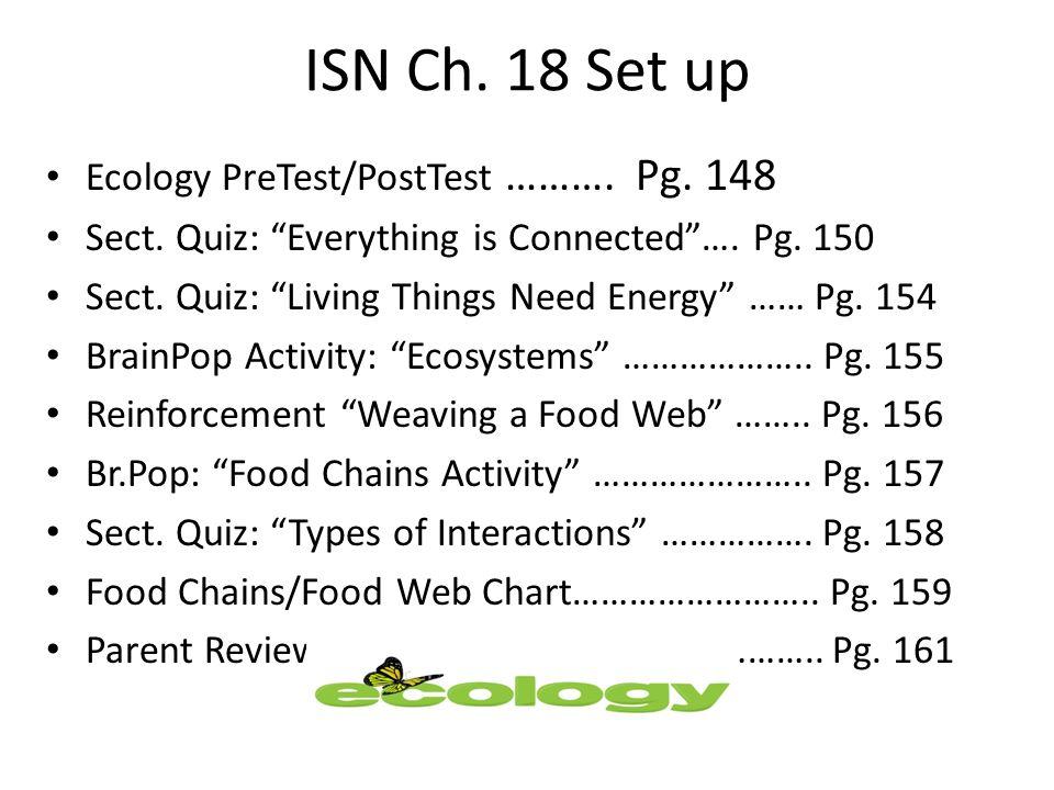 ISN Ch. 18 Set up Ecology PreTest/PostTest ………. Pg.