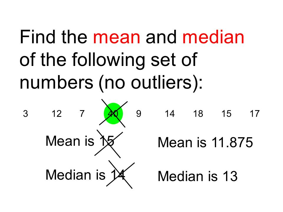 312740914181517 Find the mean and median of the following set of numbers (no outliers): Mean is 15 Median is 14 Mean is 11.875 Median is 13