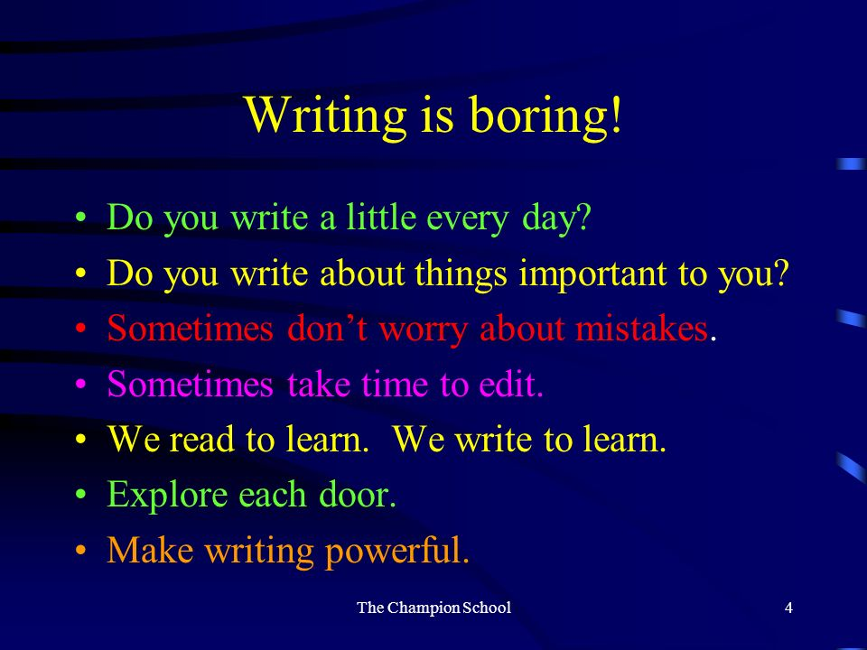 Writing Write Vocabulary Writing Literature Grammar The Champion School3