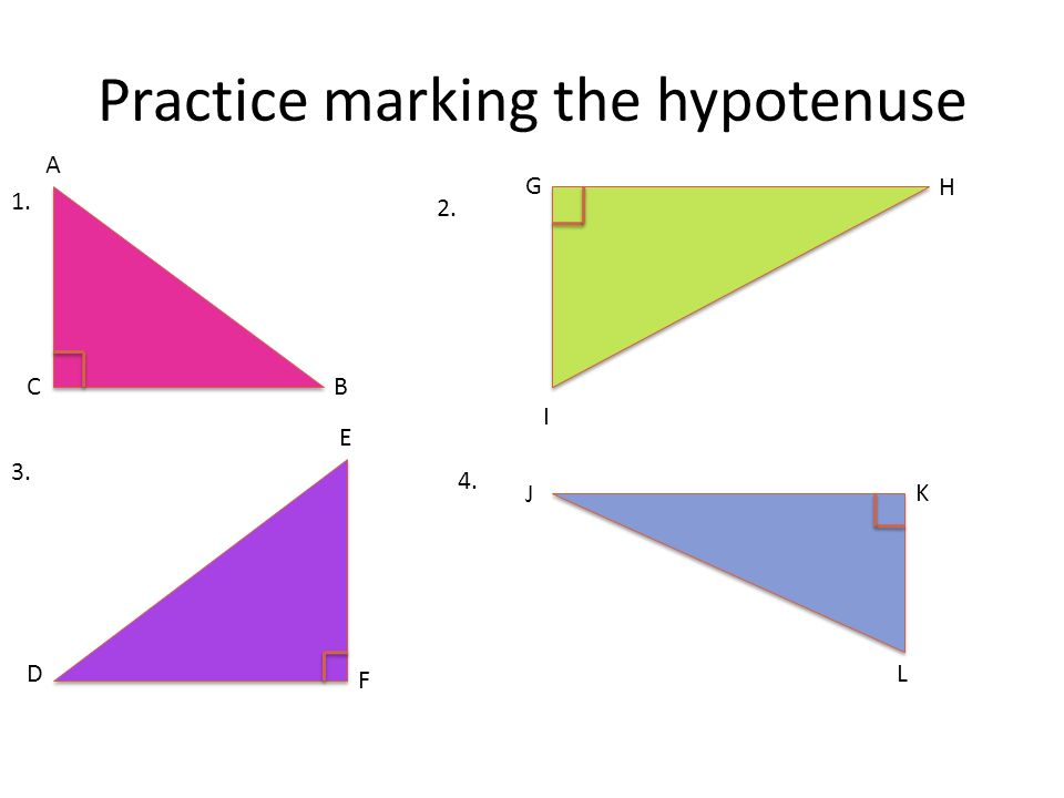 Practice marking the hypotenuse A B G I H K LD E J C F 1. 2. 3. 4.