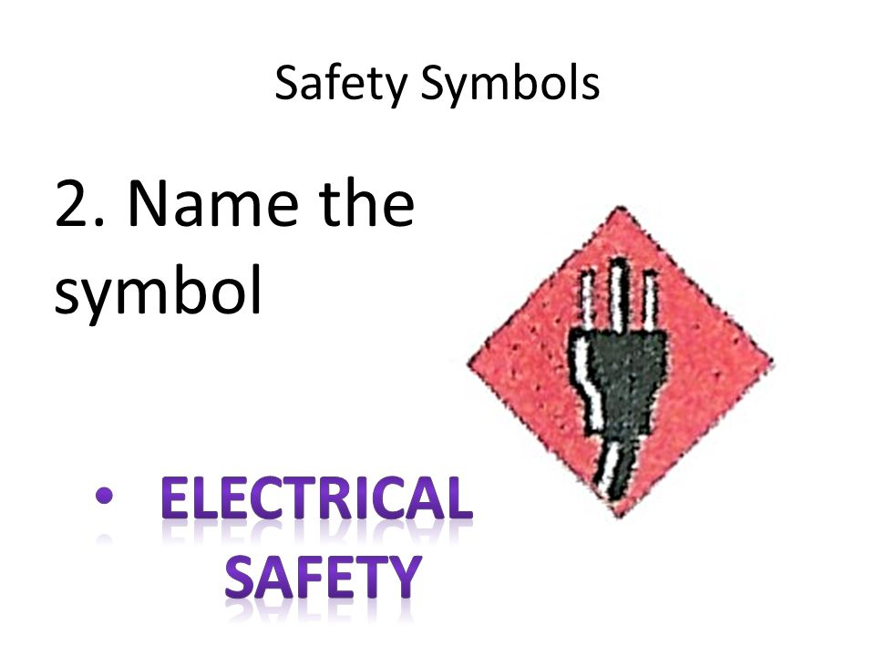 Safety Symbols 2. Name the symbol