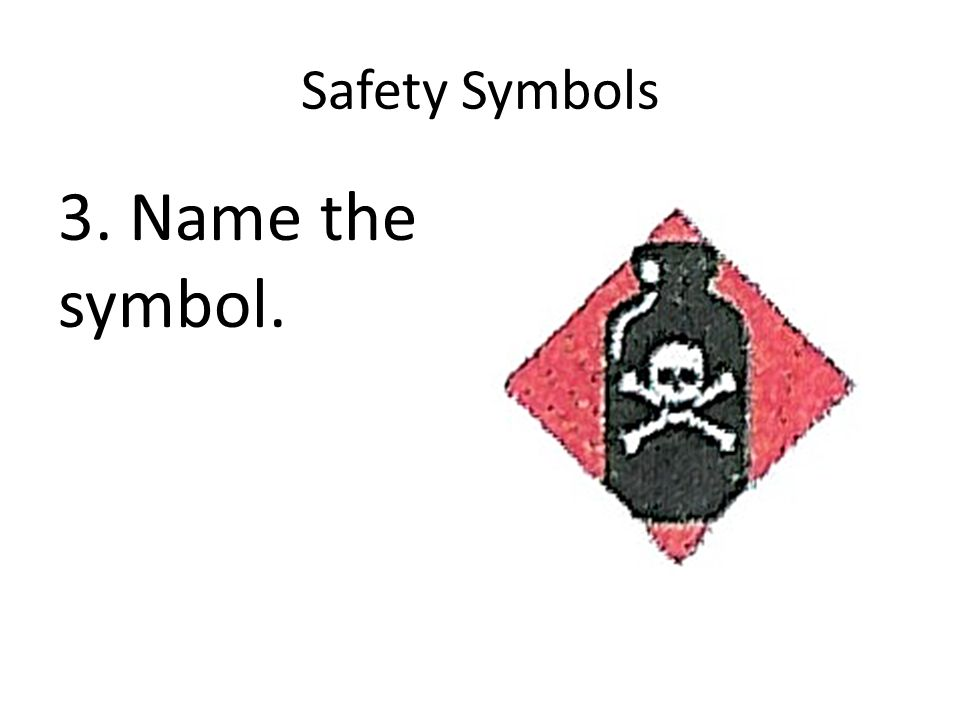 Safety Symbols 3. Name the symbol.