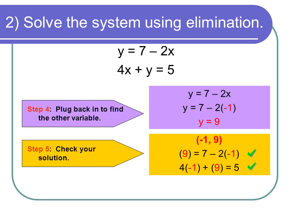 2) Solve the system using elimination. Step 4: Plug back in to find the other variable. y = 7 – 2x y = 7 – 2(-1) y = 9 Step 5: Check your solution. (-
